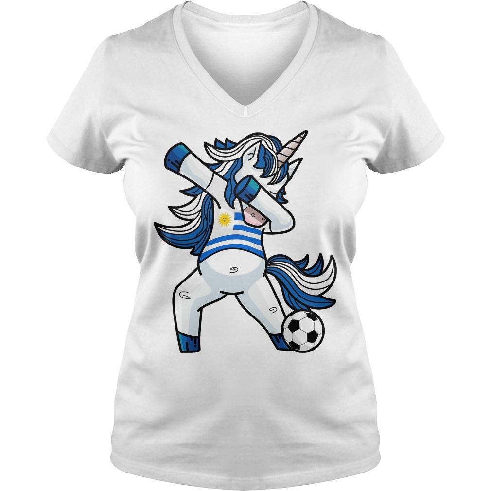 Dabbing Soccer Unicorn Uruguay V Neck