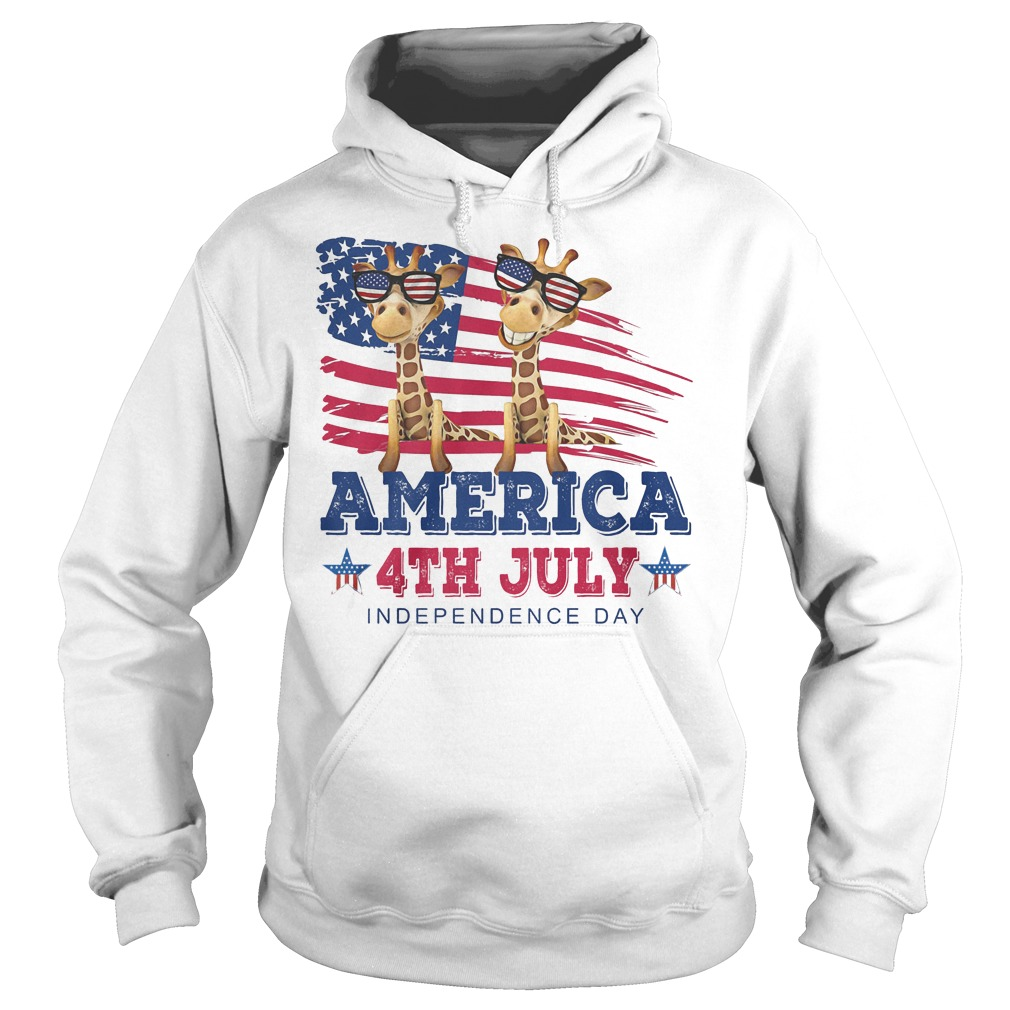 Giraffes America 4th July Independence Day Hoodie