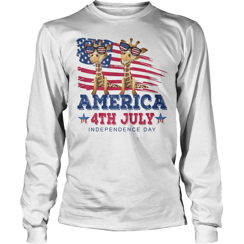Giraffes America 4th July Independence Day Longsleeve