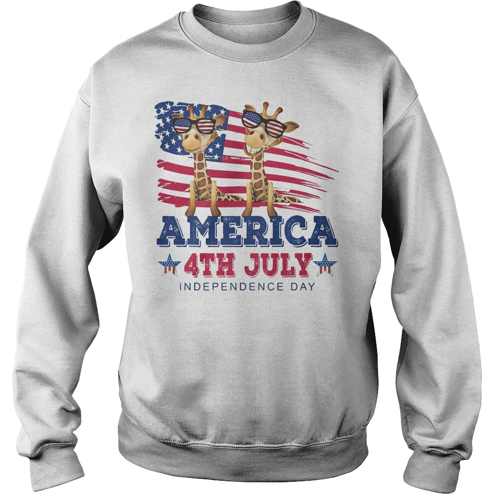 Giraffes America 4th July Independence Day Sweater