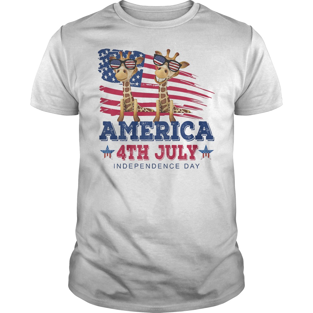 Giraffes America 4th July Independence Day T Shirt