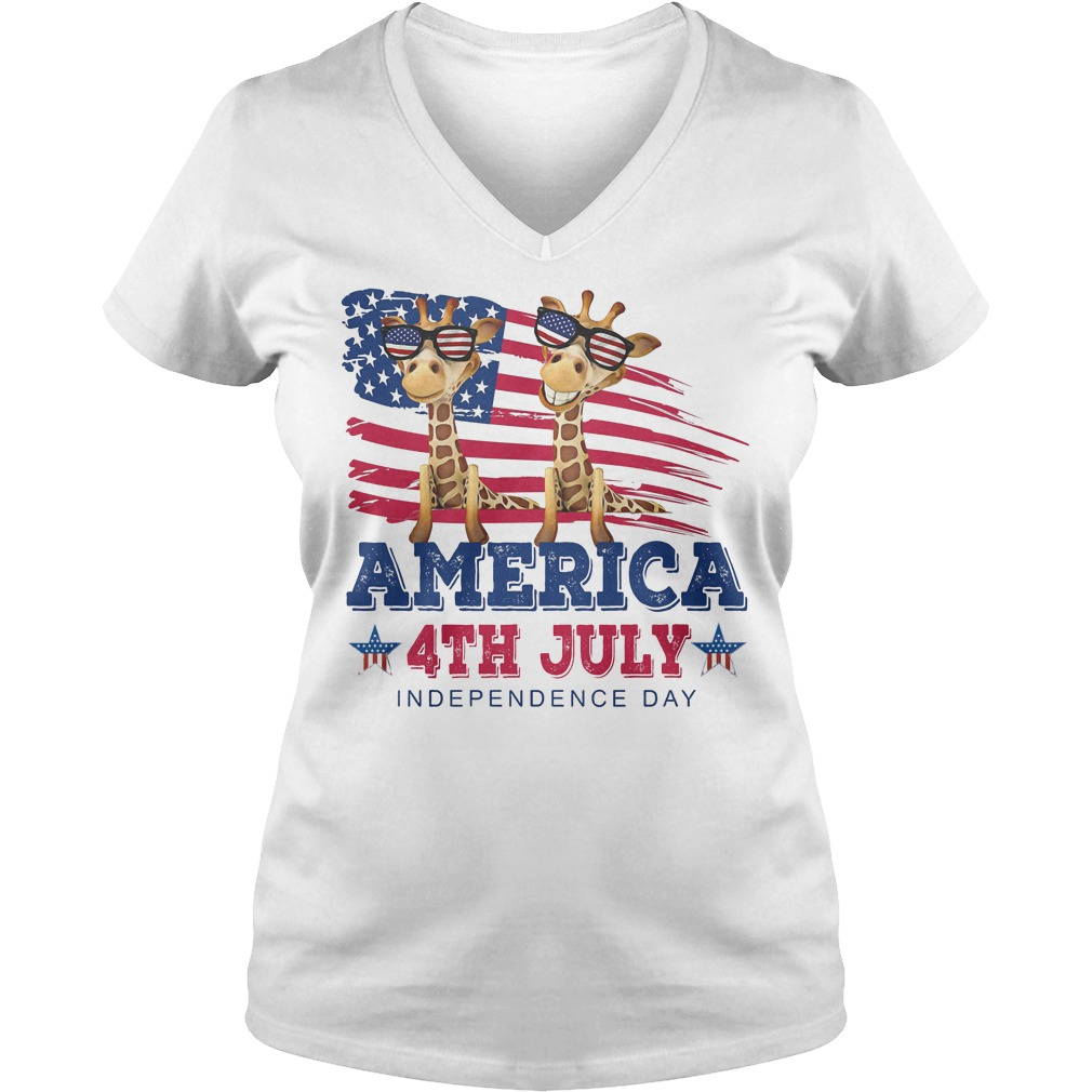 Giraffes America 4th July Independence Day V Neck