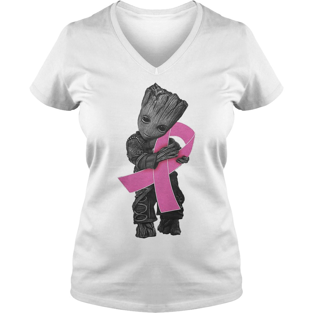 Groot Hug Breast Cancer Ribbon V Neck