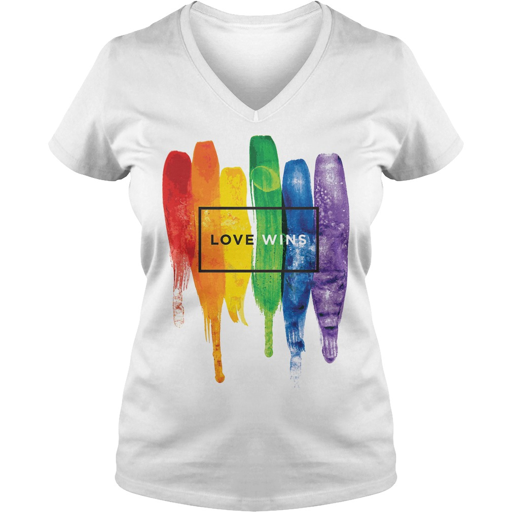 Watercolor Lgbt Love Wins Rainbow Paint Typography V Neck