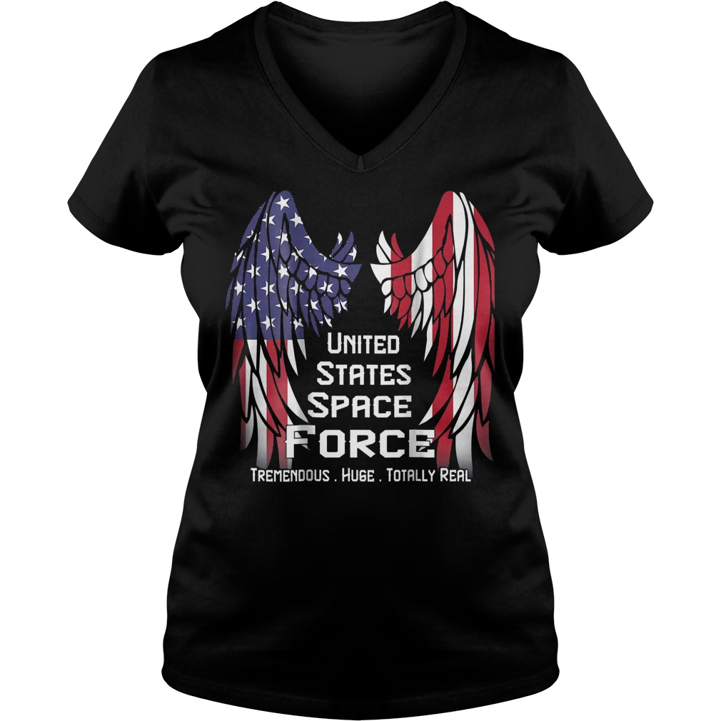 America Swings Flag United States Space Force T-Shirt Ladies V-Neck