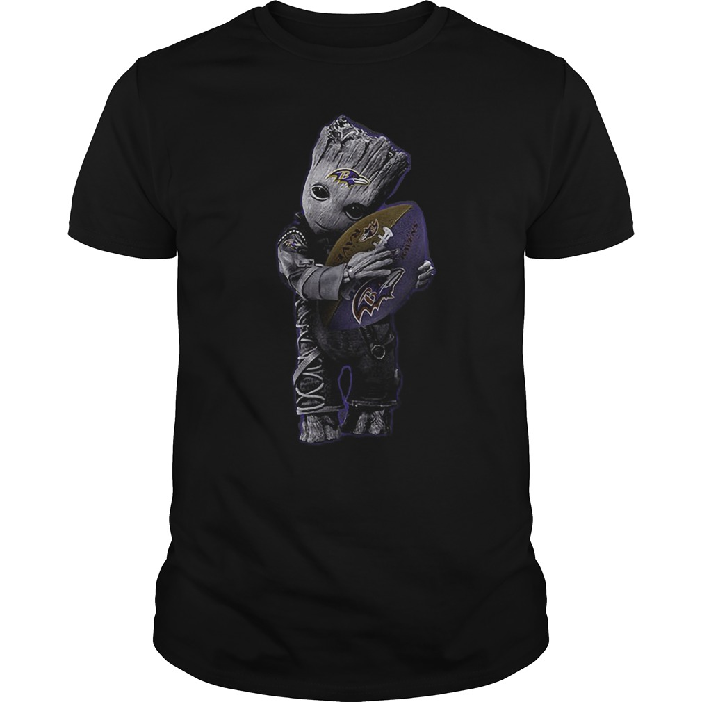 Baby Groot Hug Baltimore Ravens Football NFL T-Shirt Guys Tee