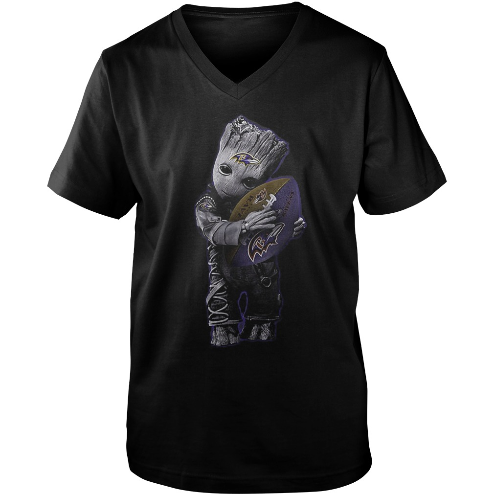 Baby Groot Hug Baltimore Ravens Football NFL T-Shirt Guys V-Neck