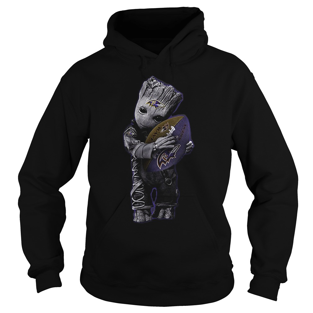 Baby Groot Hug Baltimore Ravens Football NFL T-Shirt Hoodie