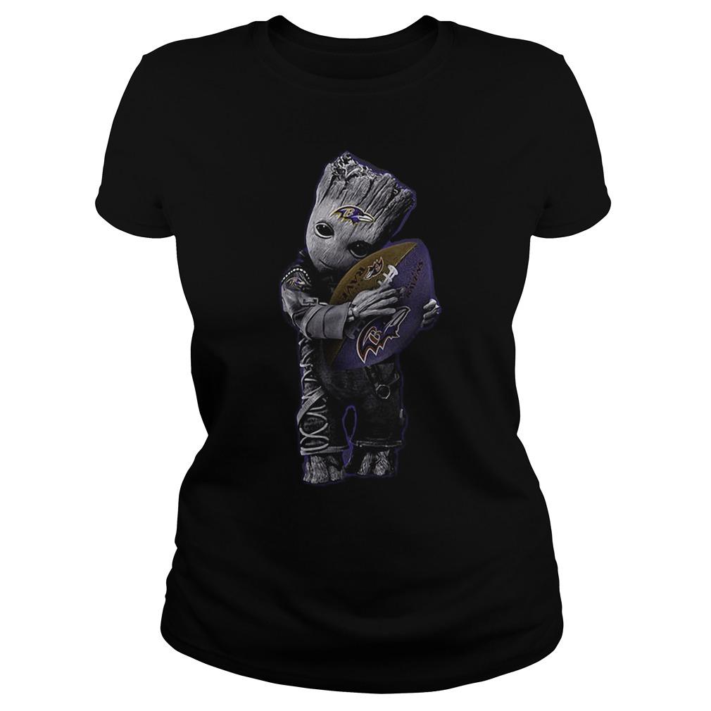 Baby Groot Hug Baltimore Ravens Football NFL T-Shirt Ladies Tee