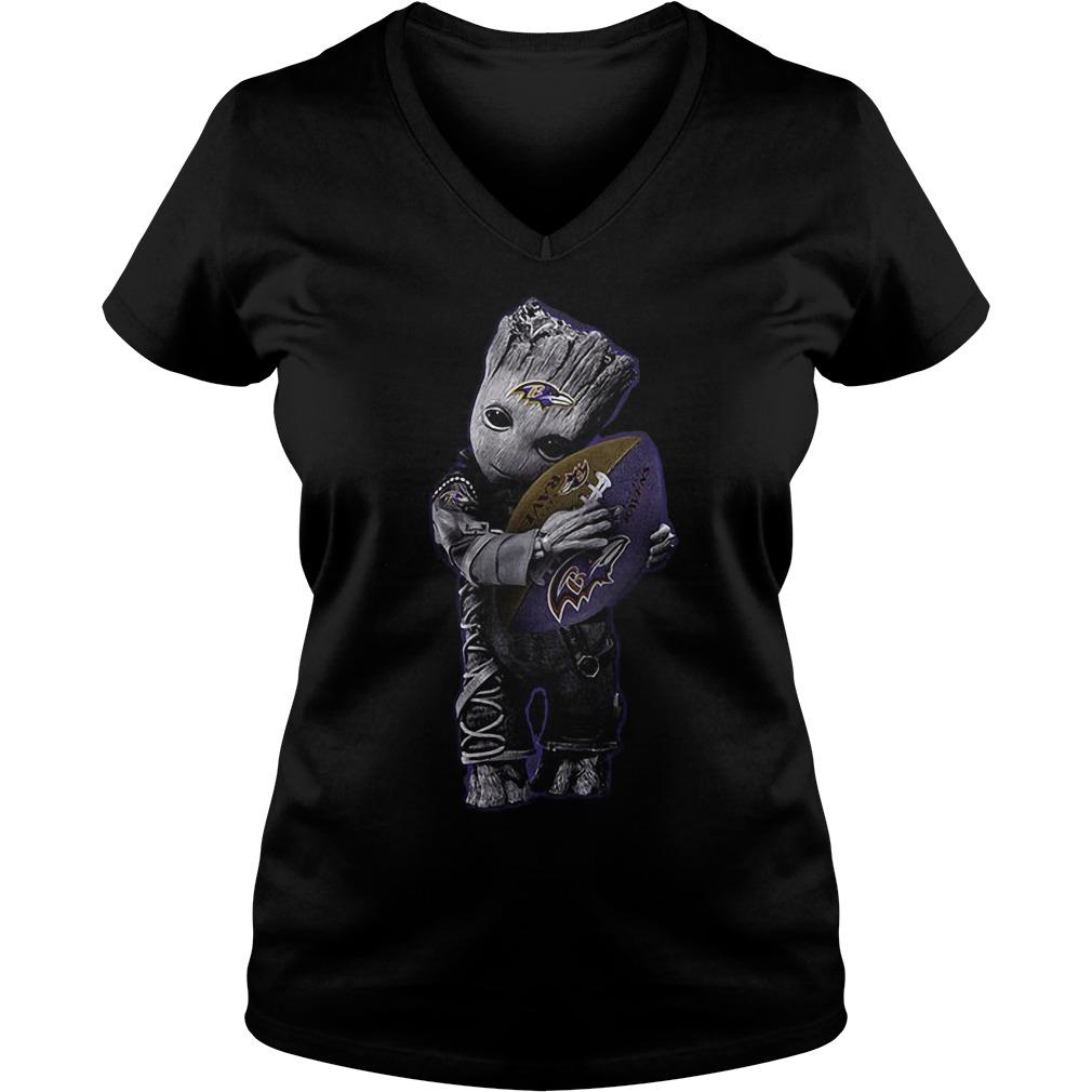 Baby Groot Hug Baltimore Ravens Football NFL T-Shirt Ladies V-Neck