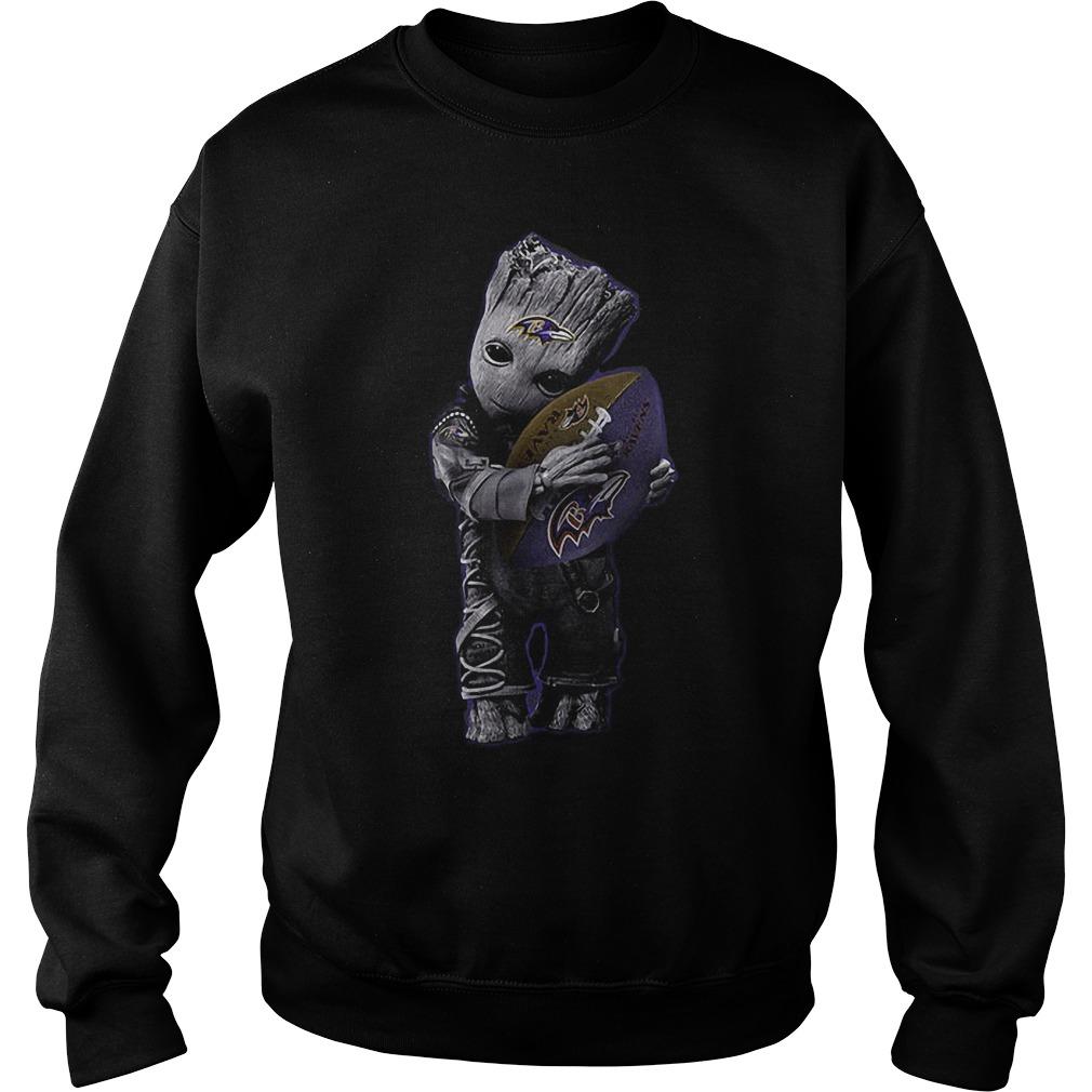 Baby Groot Hug Baltimore Ravens Football NFL T-Shirt Sweat Shirt