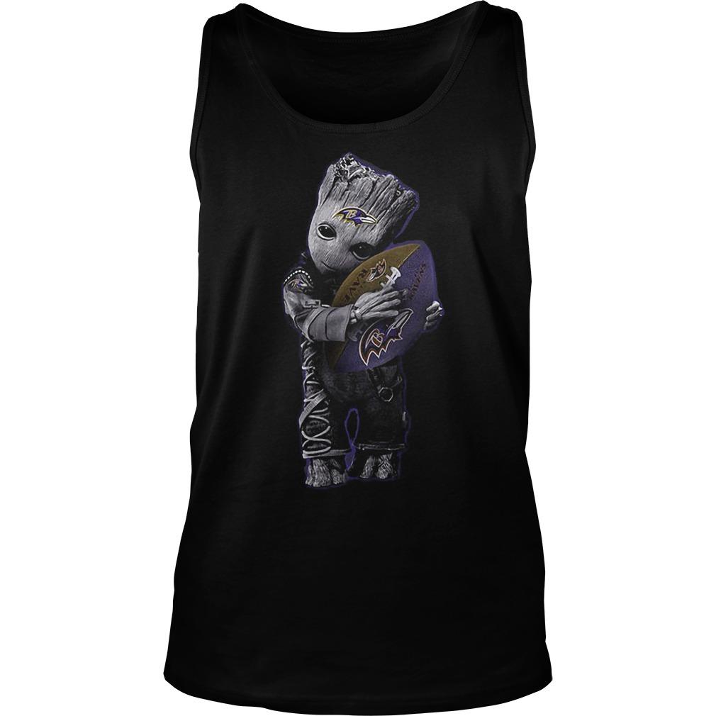 Baby Groot Hug Baltimore Ravens Football NFL T-Shirt Unisex Tank Top