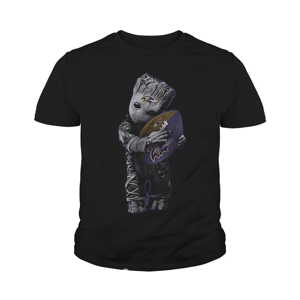 Baby Groot Hug Baltimore Ravens Football NFL T-Shirt Youth Tee