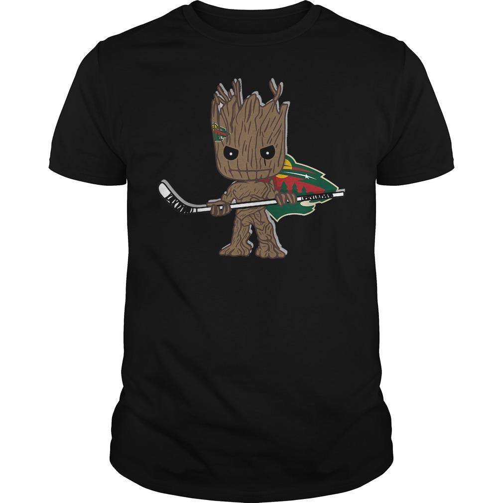 Baby Groot I Am Ice Hockey Player Team Minnesota Wild T-Shirt Guys Tee