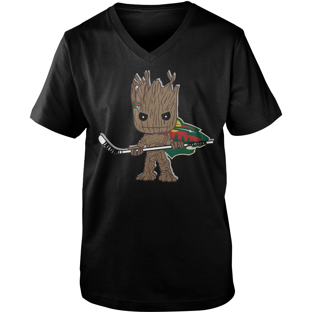 Baby Groot I Am Ice Hockey Player Team Minnesota Wild T-Shirt Guys V-Neck