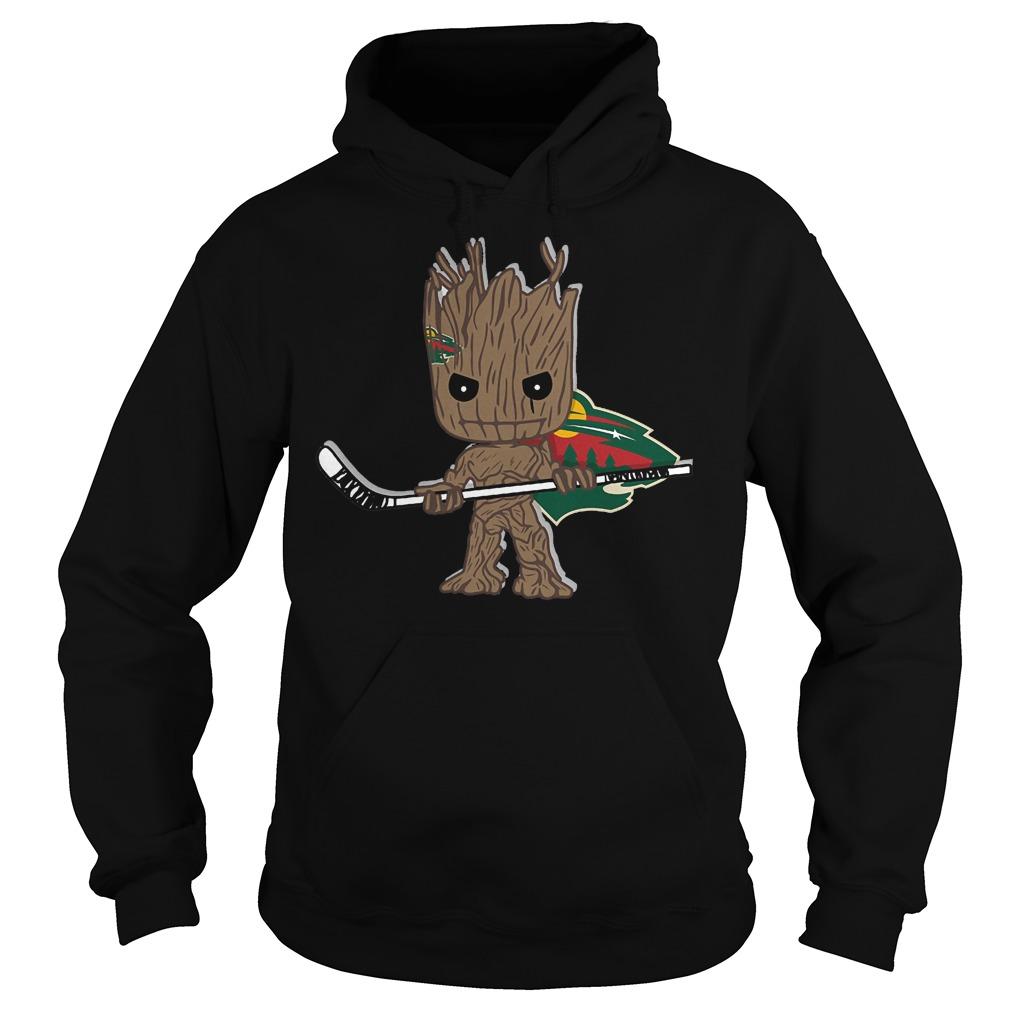 Baby Groot I Am Ice Hockey Player Team Minnesota Wild T-Shirt Hoodie