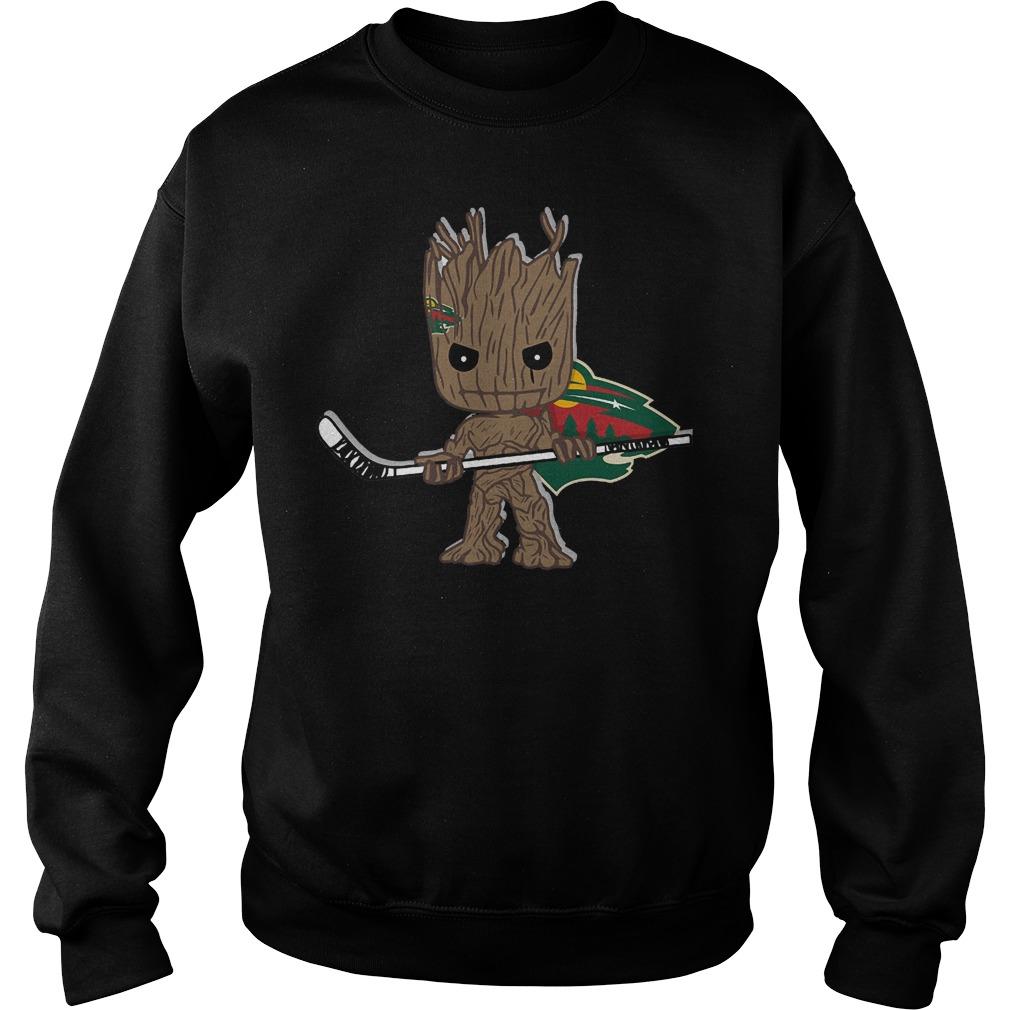 Baby Groot I Am Ice Hockey Player Team Minnesota Wild T-Shirt Sweat Shirt