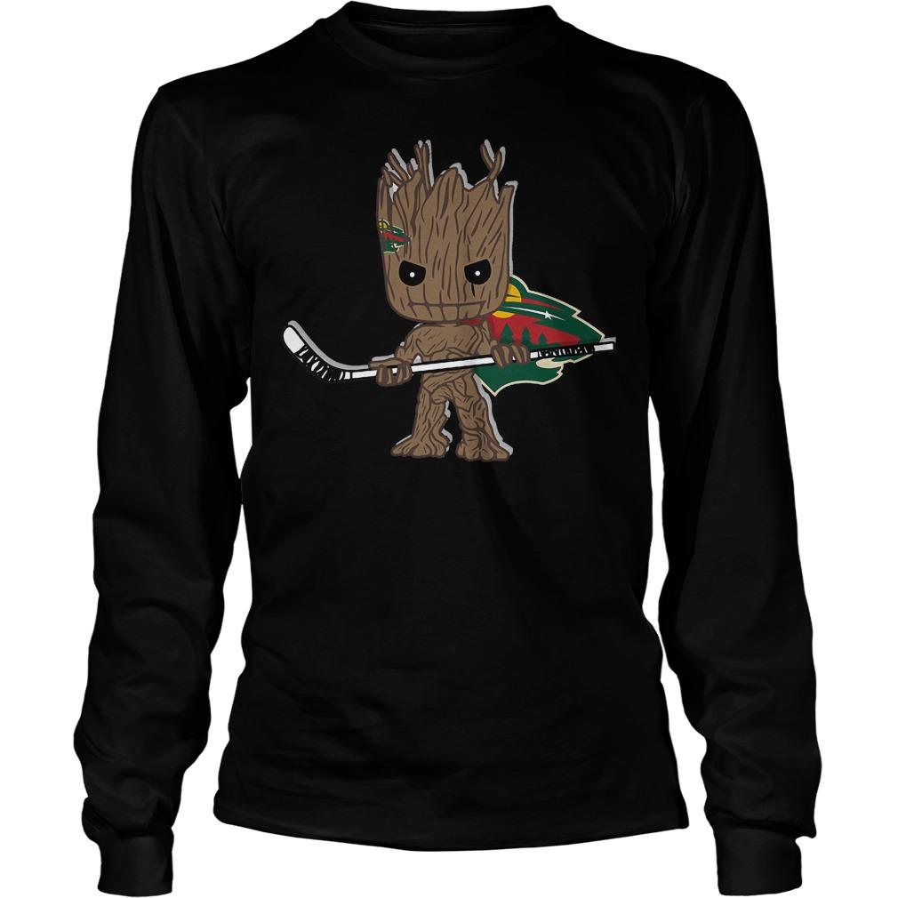 Baby Groot I Am Ice Hockey Player Team Minnesota Wild T-Shirt Unisex Longsleeve Tee