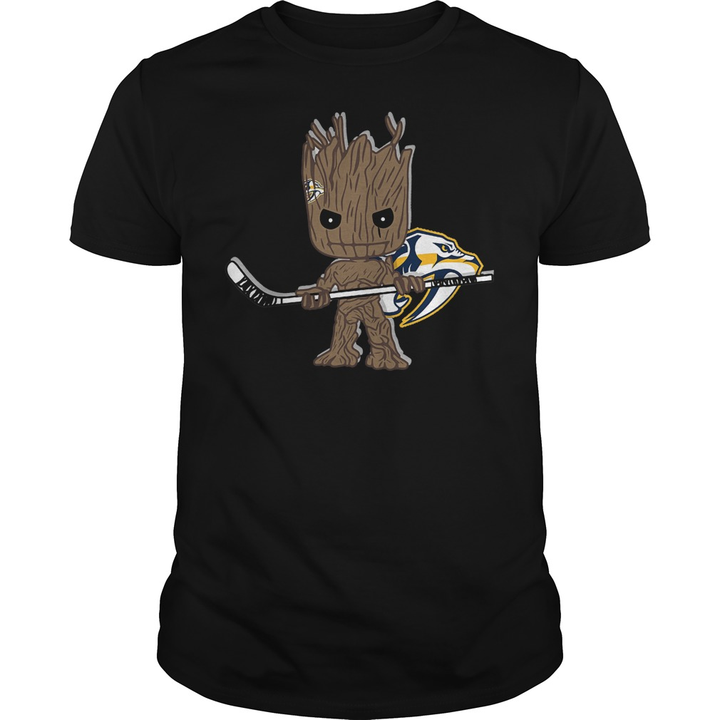 Baby Groot I Am Ice Hockey Player Team Nashville Predators T-Shirt Guys Tee