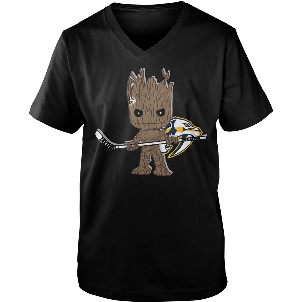 Baby Groot I Am Ice Hockey Player Team Nashville Predators T-Shirt Guys V-Neck