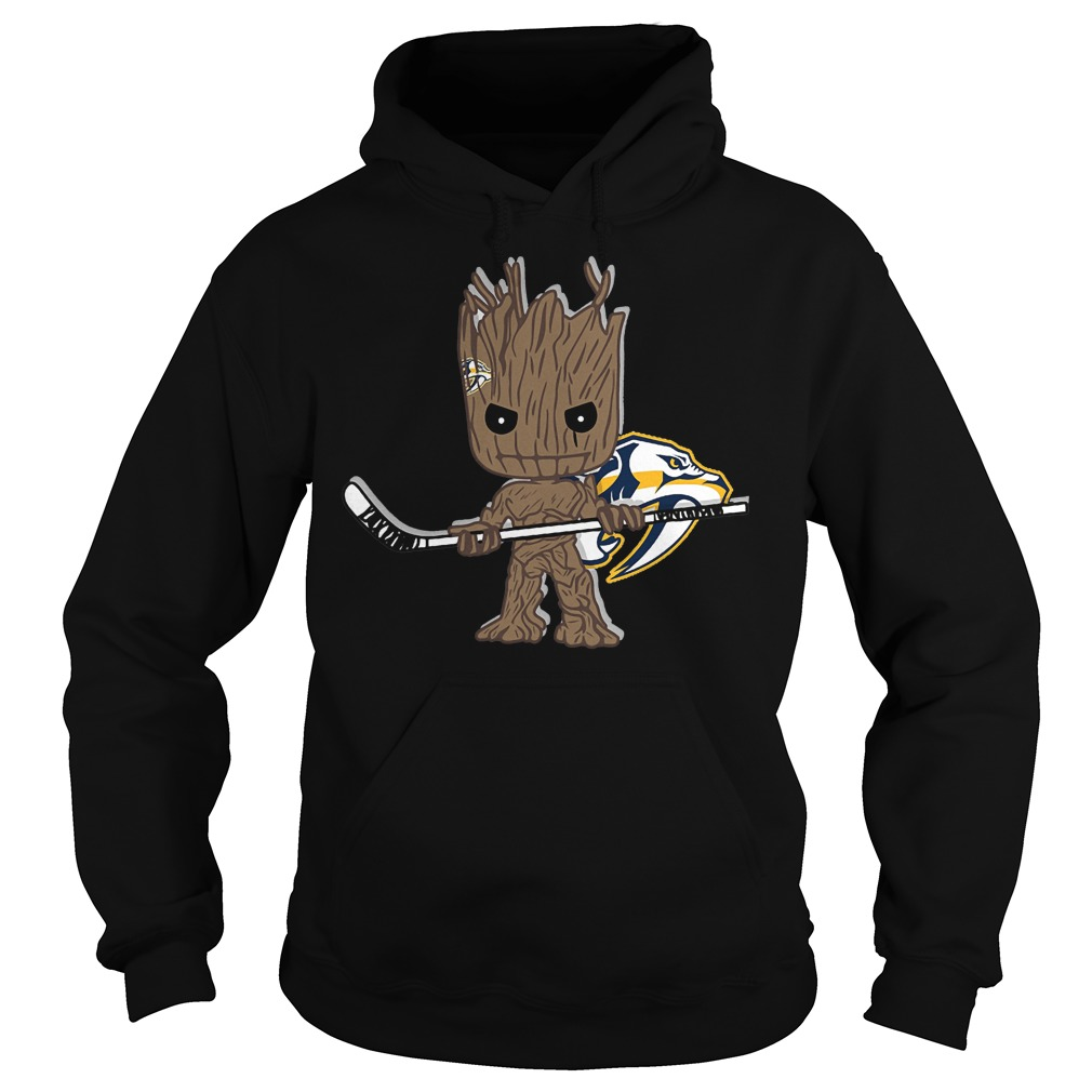Baby Groot I Am Ice Hockey Player Team Nashville Predators T-Shirt Hoodie