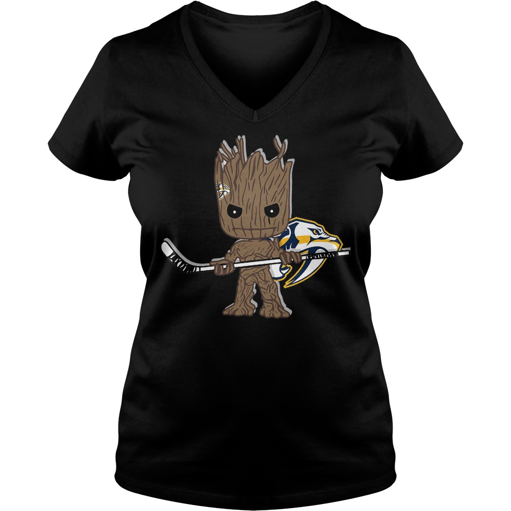 Baby Groot I Am Ice Hockey Player Team Nashville Predators T-Shirt Ladies V-Neck