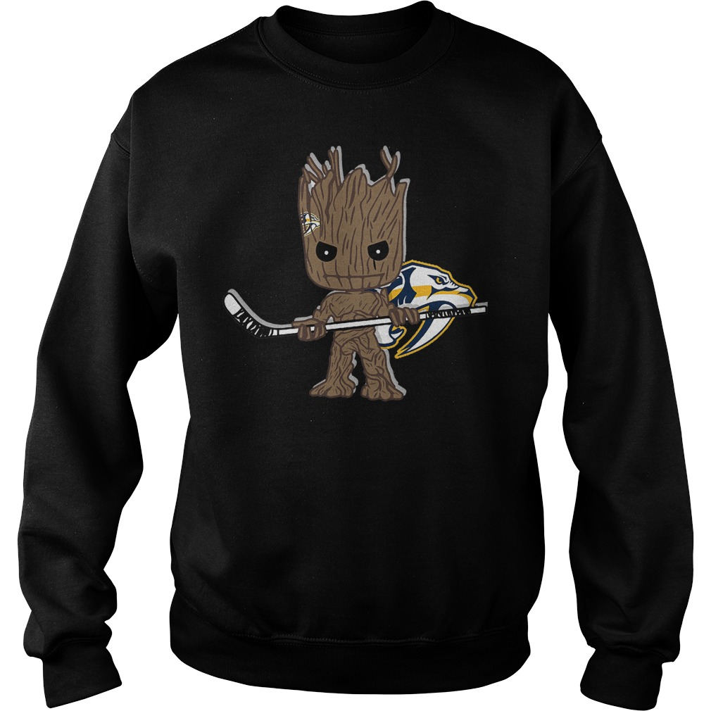 Baby Groot I Am Ice Hockey Player Team Nashville Predators T-Shirt Sweat Shirt