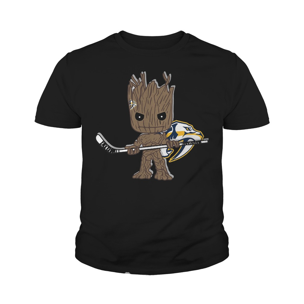 Baby Groot I Am Ice Hockey Player Team Nashville Predators T-Shirt Youth Tee