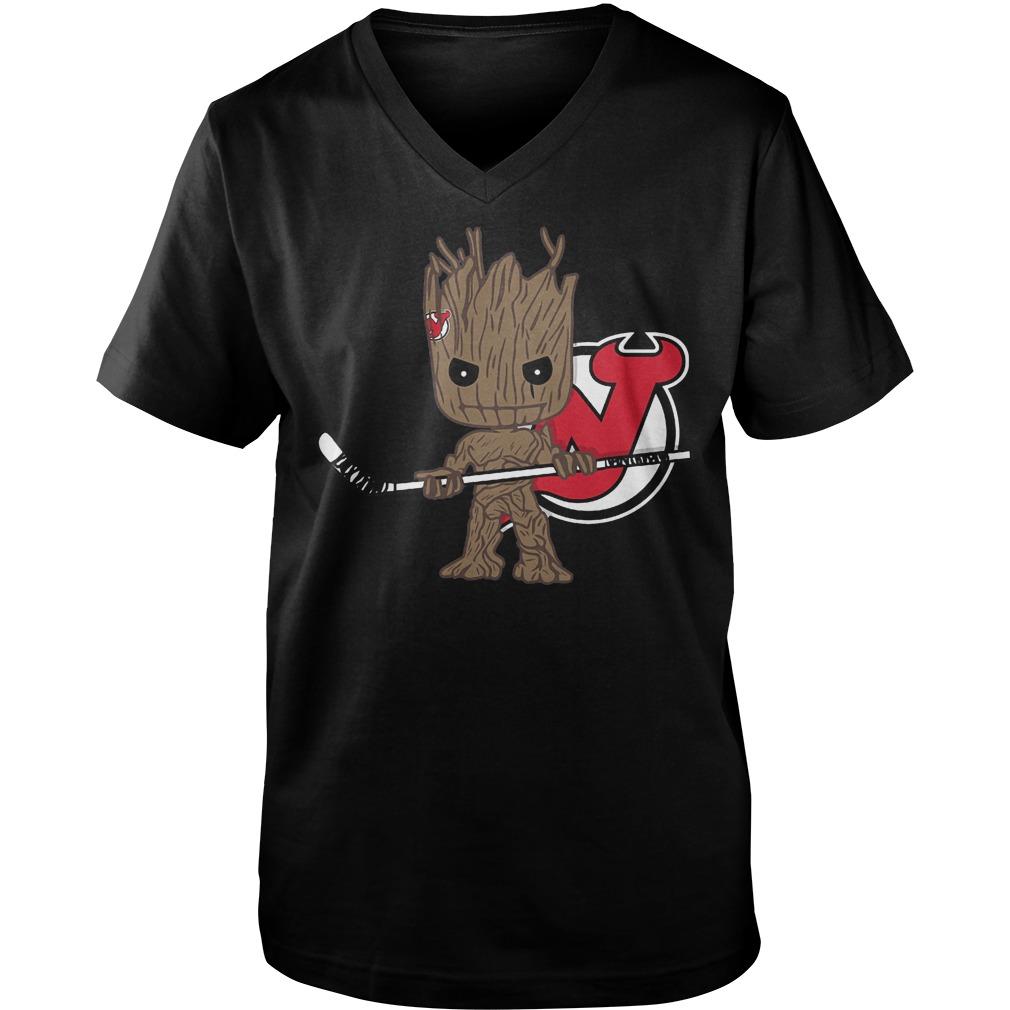 Baby Groot I Am Ice Hockey Player Team New Jersey Devils T-Shirt Guys V-Neck