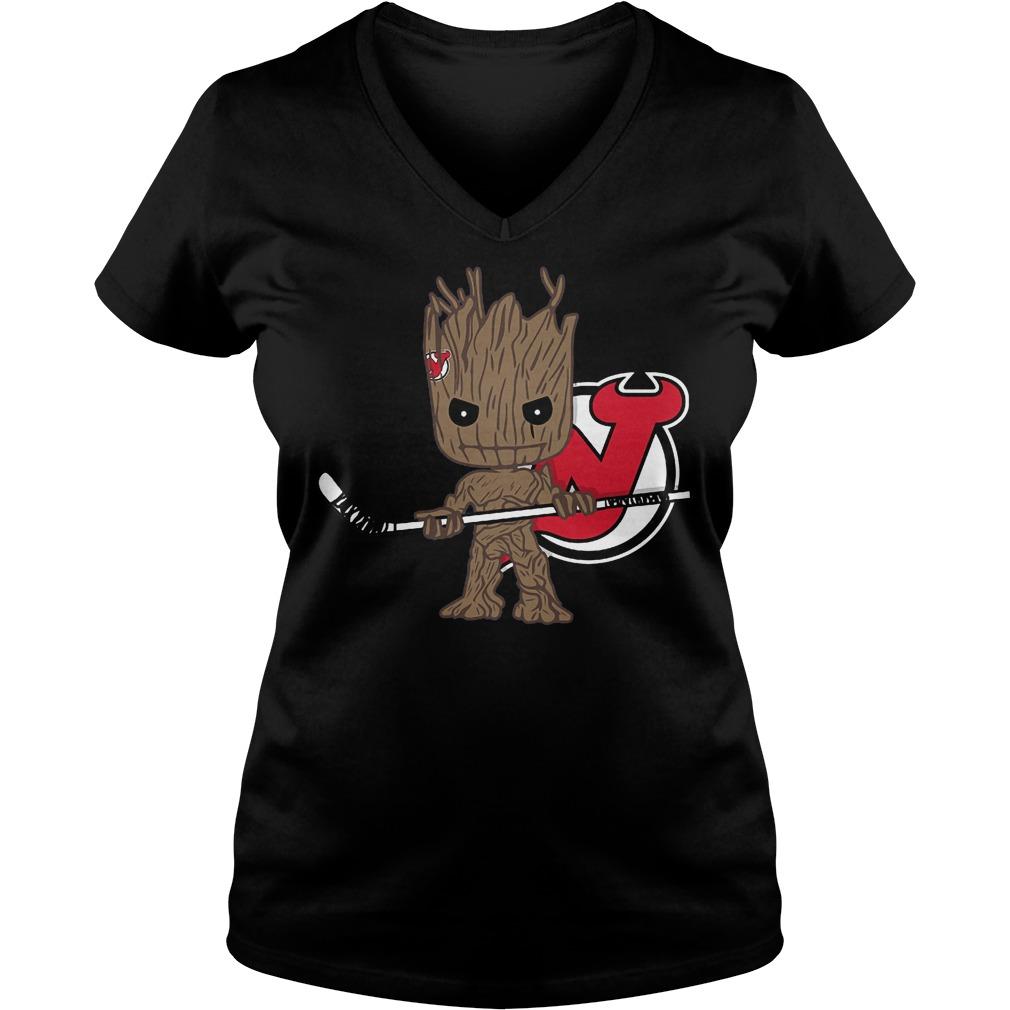 Baby Groot I Am Ice Hockey Player Team New Jersey Devils T-Shirt Ladies V-Neck