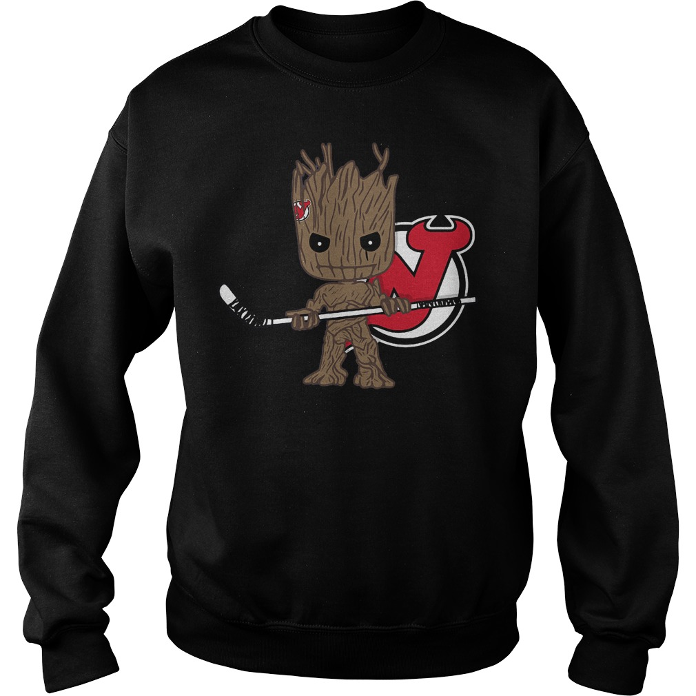 Baby Groot I Am Ice Hockey Player Team New Jersey Devils T-Shirt Sweat Shirt