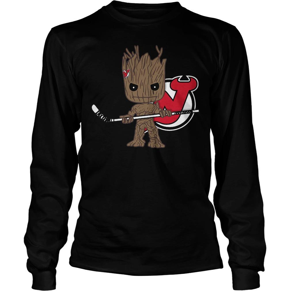Baby Groot I Am Ice Hockey Player Team New Jersey Devils T-Shirt Unisex Longsleeve Tee