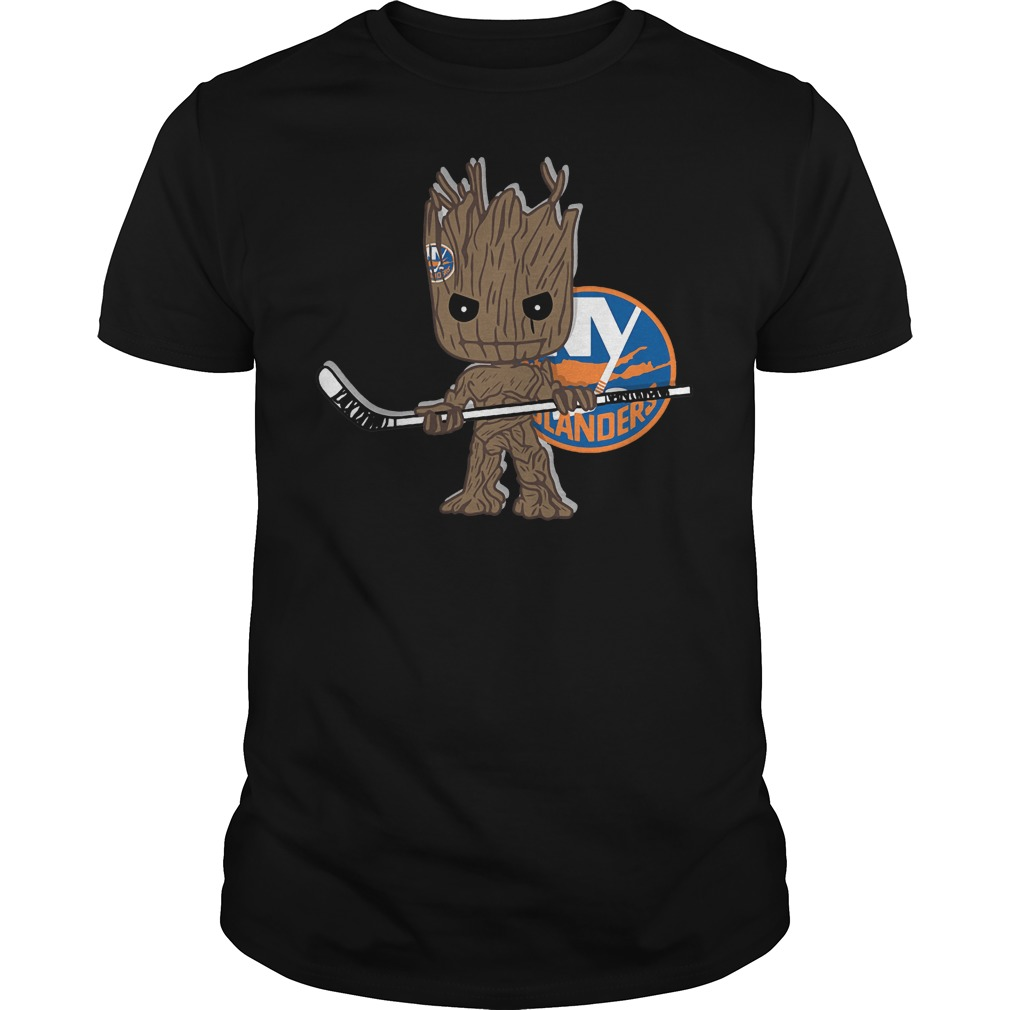 Baby Groot I Am Ice Hockey Player Team New York Islanders T-Shirt Guys Tee