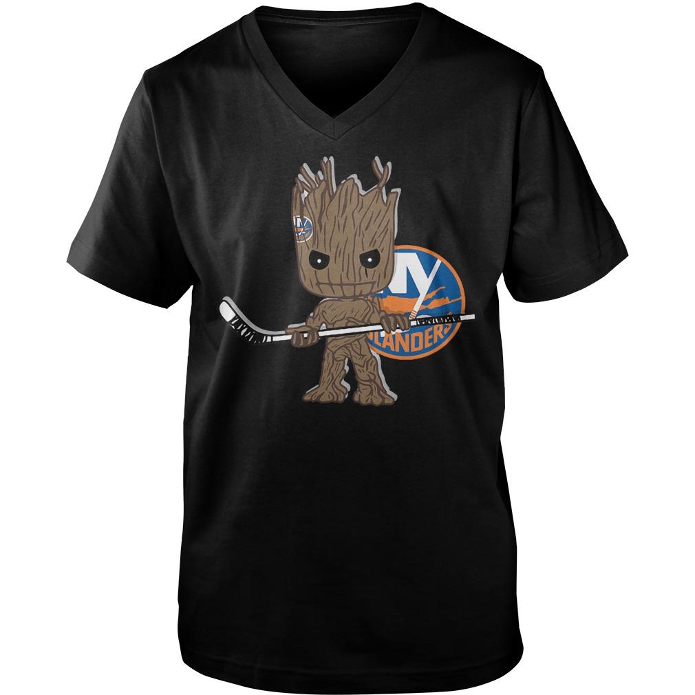 Baby Groot I Am Ice Hockey Player Team New York Islanders T-Shirt Guys V-Neck