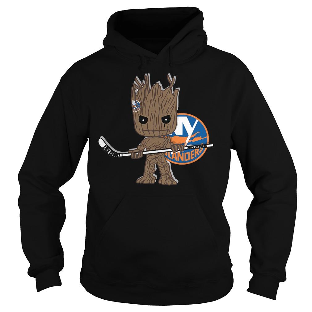 Baby Groot I Am Ice Hockey Player Team New York Islanders T-Shirt Hoodie