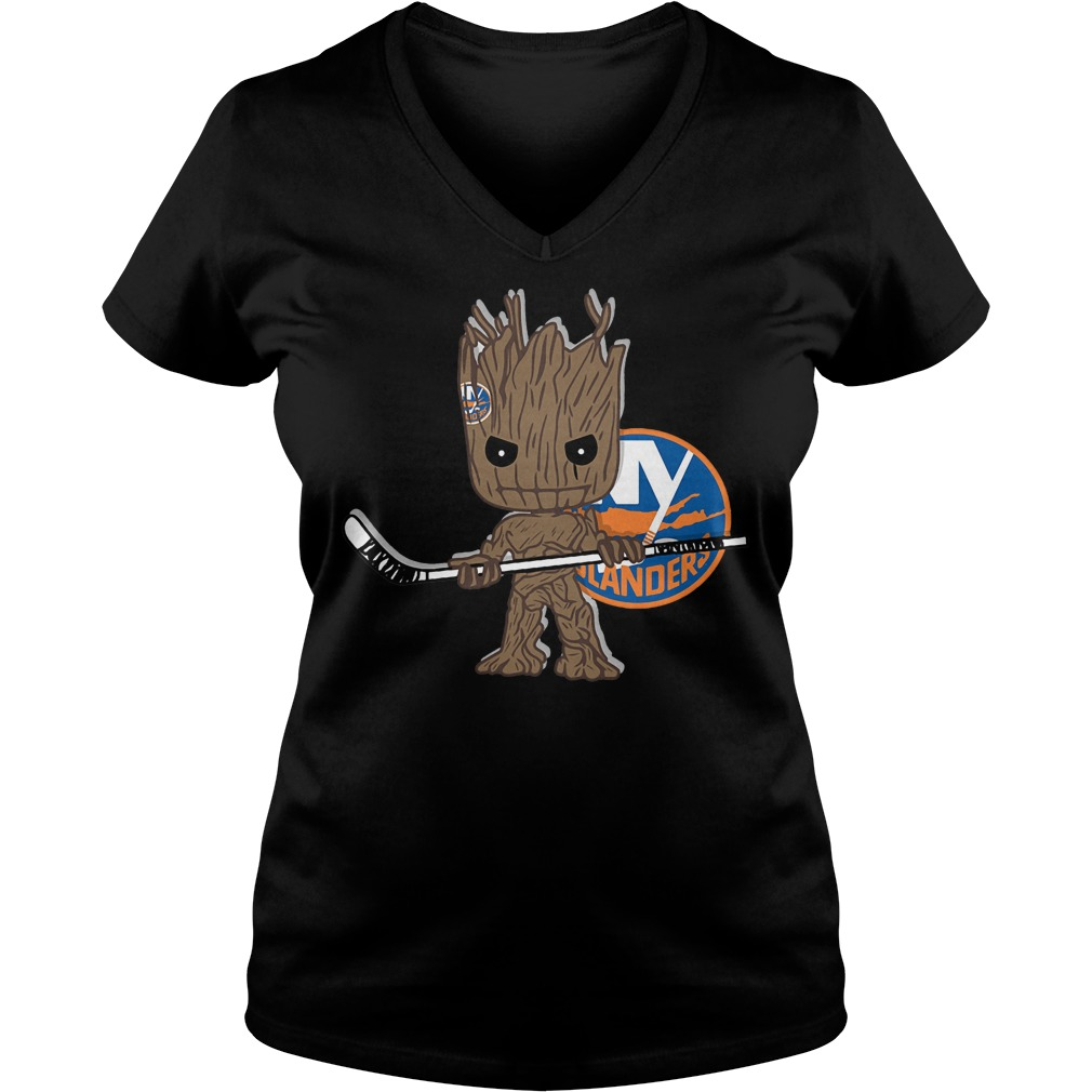 Baby Groot I Am Ice Hockey Player Team New York Islanders T-Shirt Ladies V-Neck