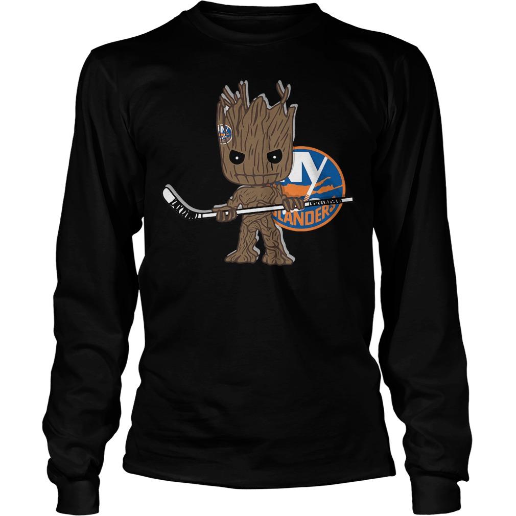 Baby Groot I Am Ice Hockey Player Team New York Islanders T-Shirt Unisex Longsleeve Tee