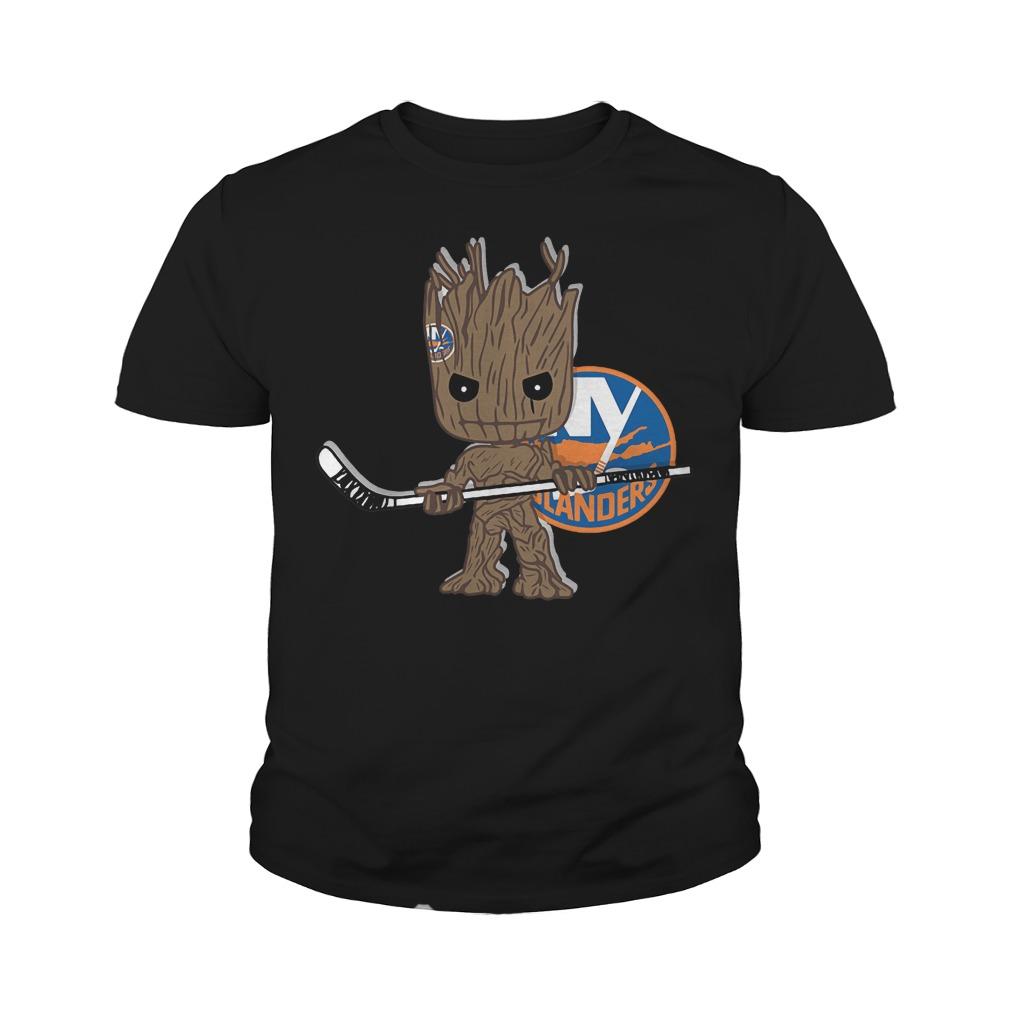 Baby Groot I Am Ice Hockey Player Team New York Islanders T-Shirt Youth Tee