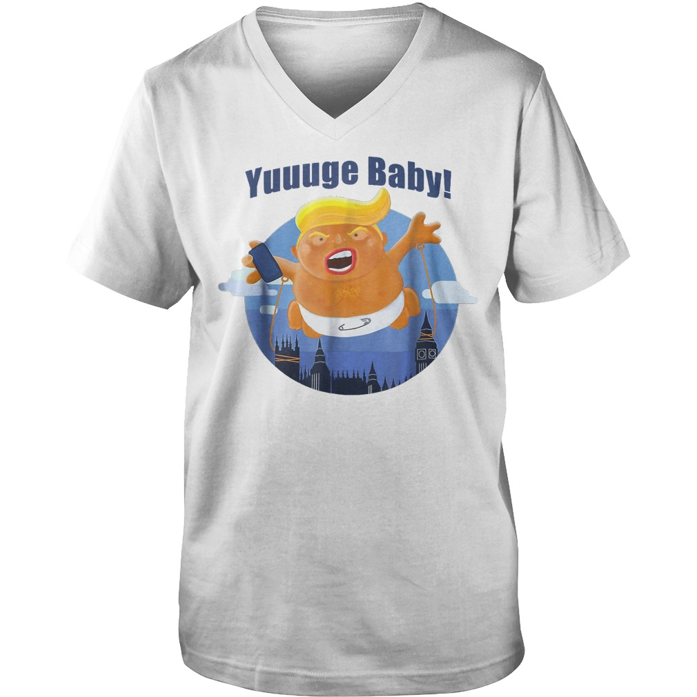 Baby Trump Inflatable Huge Baby Blimp Scotland T-Shirt Guys V-Neck