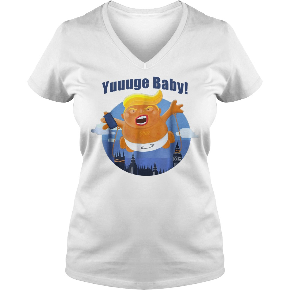 Baby Trump Inflatable Huge Baby Blimp Scotland T-Shirt Ladies V-Neck