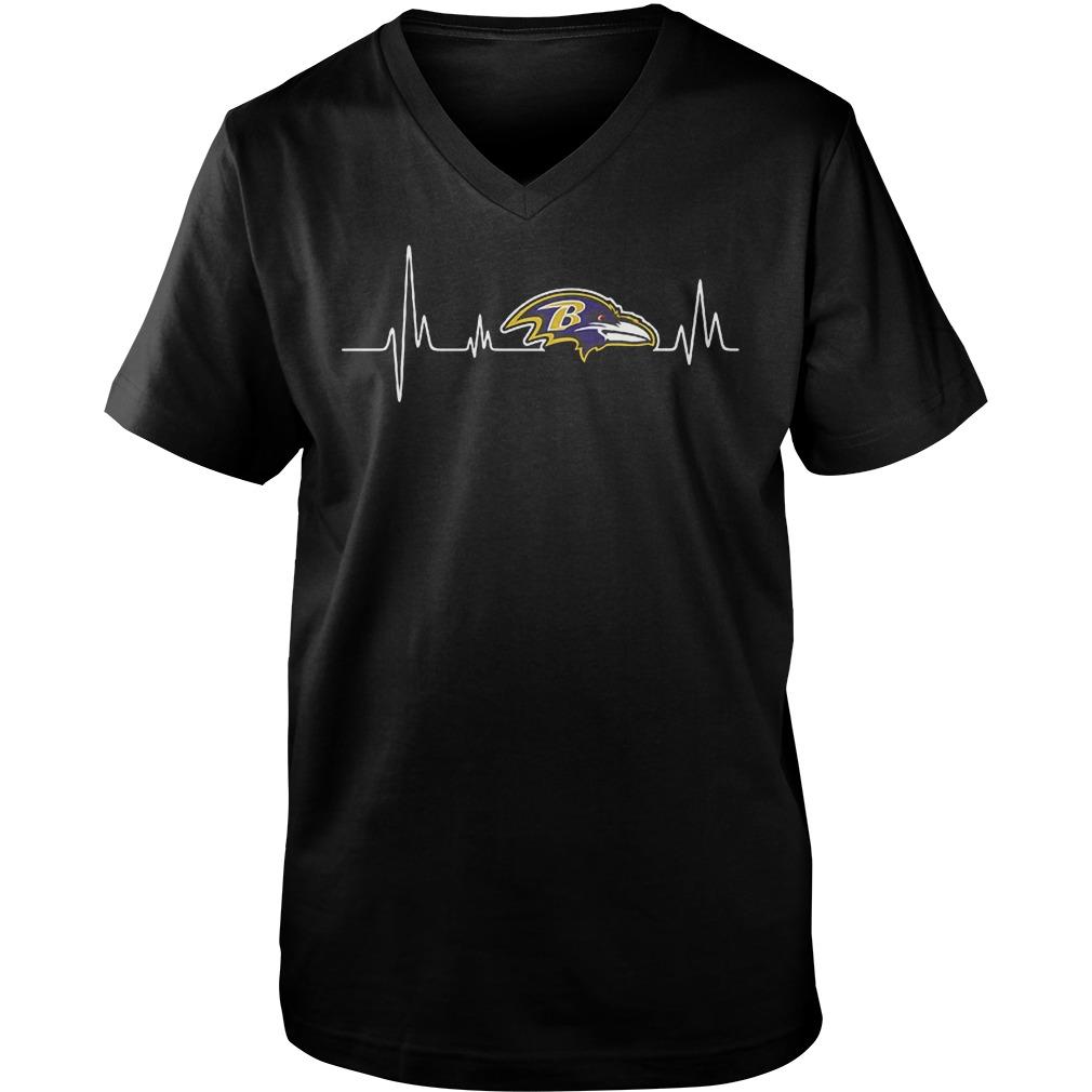 Baltimore Ravens Heartbeat T-Shirt Guys V-Neck