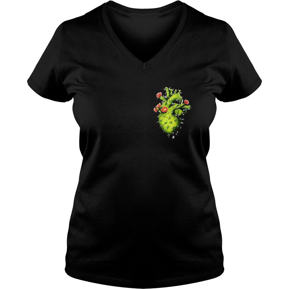 Cactus Heart T-Shirt Ladies V-Neck