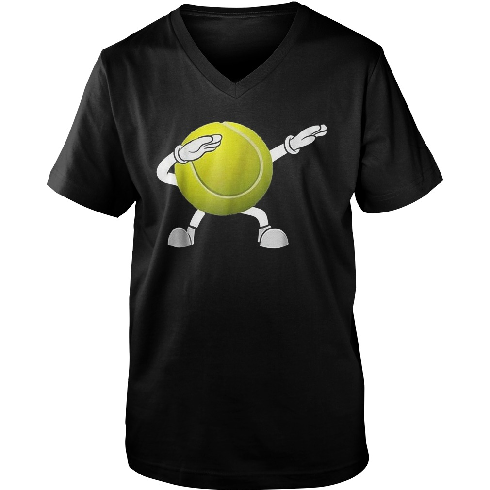 Dabbing Tennis Ball T-Shirt Guys V-Neck
