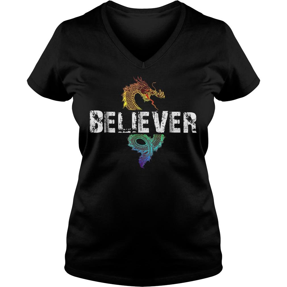 Dragon Believer T-Shirt Ladies V-Neck