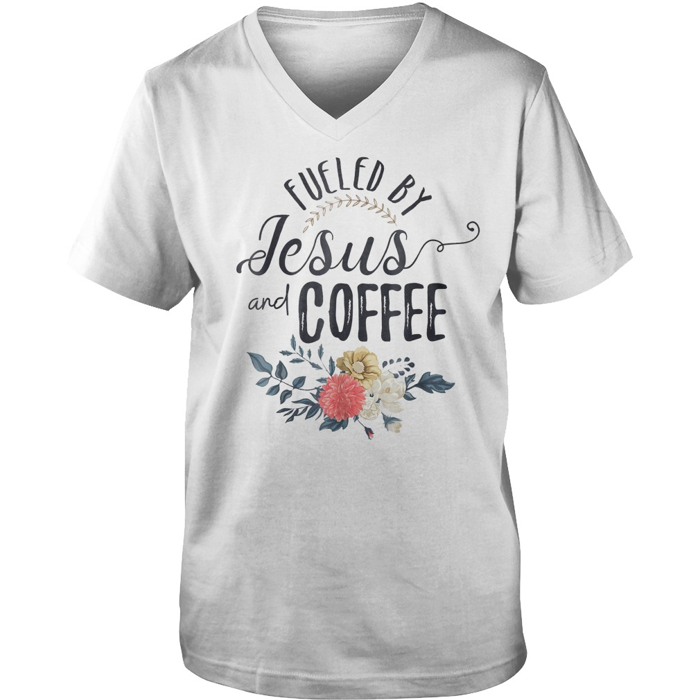 Fueled By Jesus With Coffee T-Shirt Guys V-Neck