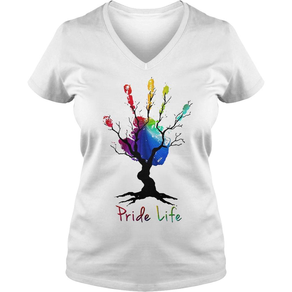 Hand Tree Pride Life T-Shirt Ladies V-Neck