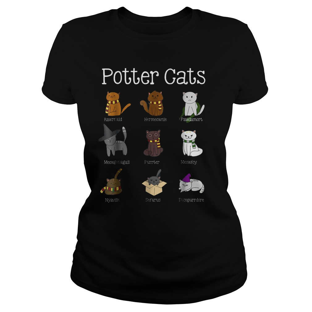 Harry Pawter Cute Kitten Potter Cats T-Shirt Classic Ladies Tee
