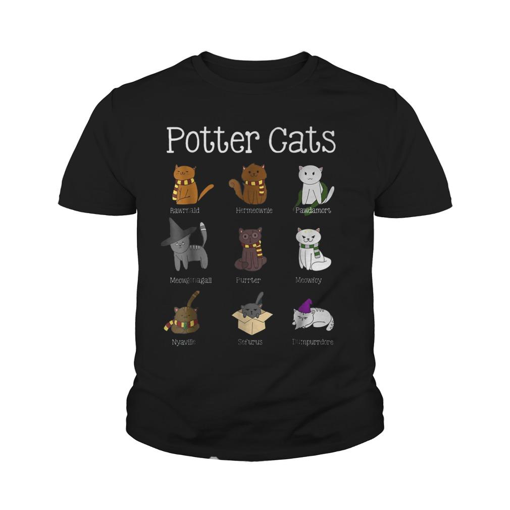 Harry Pawter Cute Kitten Potter Cats T-Shirt Youth Tee