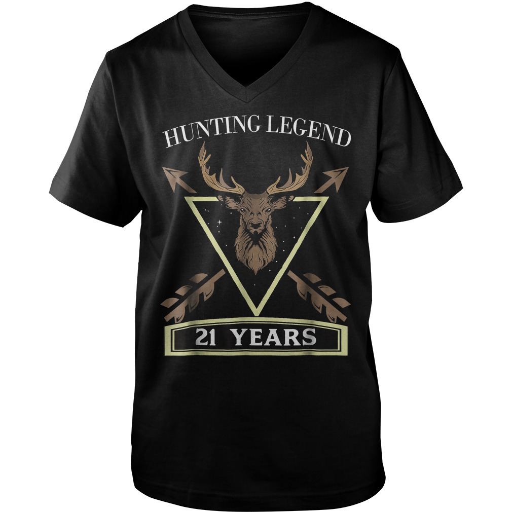 Hunting Legend 21 Years Old T-Shirt Guys V-Neck