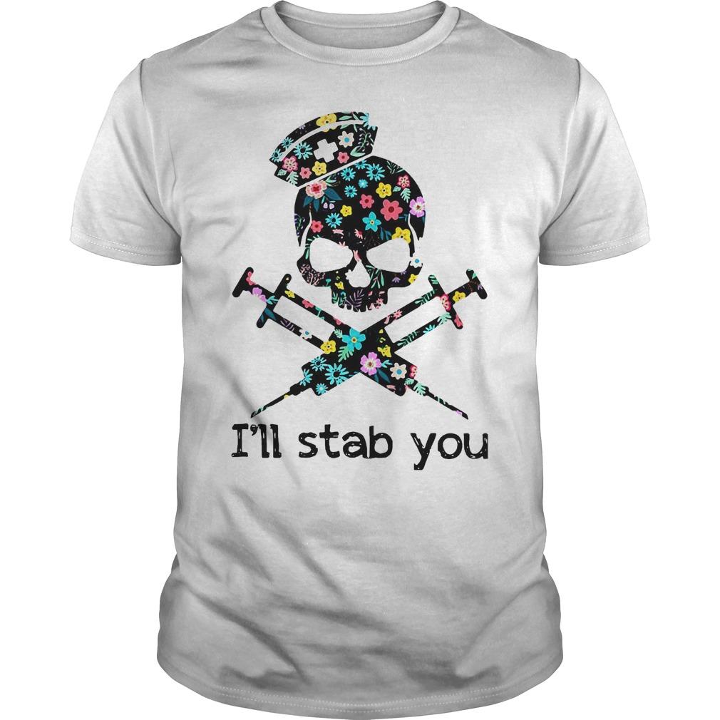 I'll Stab You Skull Nurse T-Shirt Classic Guys / Unisex Tee